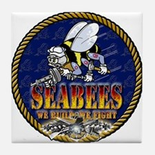 US Navy Seabees Lava Glow Tile Coaster