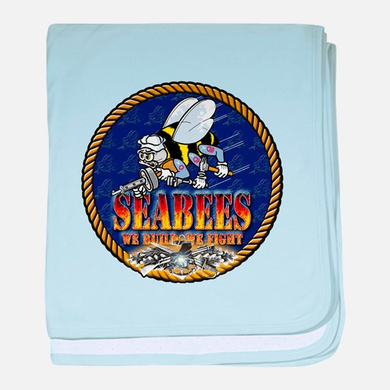 US Navy Seabees Lava Glow baby blanket