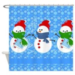 Snowman and Snowflakes Shower Curtain