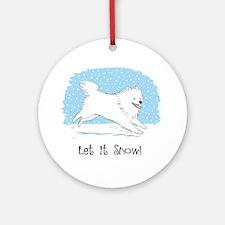 Eskie Let it Snow Dog Ornament (Round)