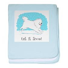 Eskie Let it Snow Dog baby blanket