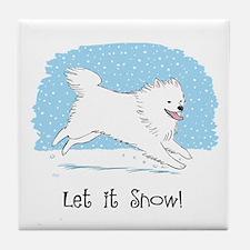 Eskie Let it Snow Dog Tile Coaster
