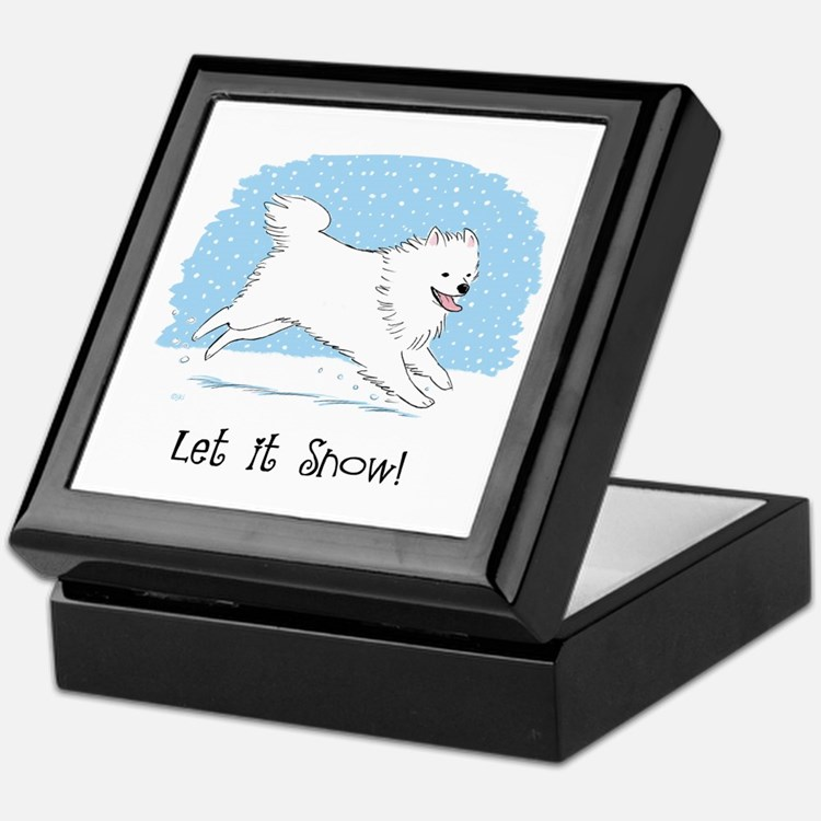 Eskie Let it Snow Dog Keepsake Box