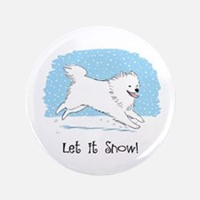 "Eskie Let it Snow Dog 3.5"" Button (100 pack)"