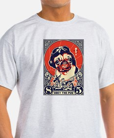 Obey the Pug! Flying Ace- Ash Grey T-Shirt T-Shirt