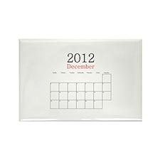 December 2012 Calendar Rectangle Magnet
