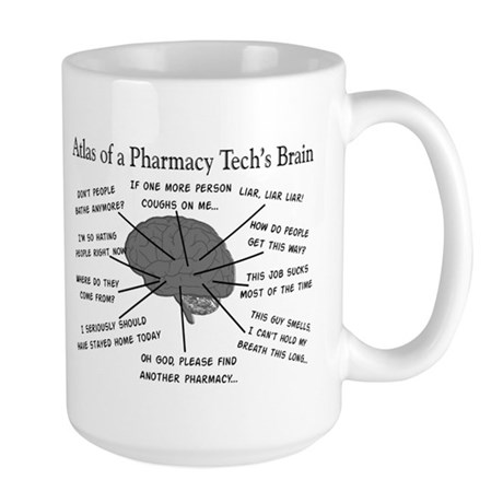 Atlas of a pharmacy techs brain.PNG Large Mug
