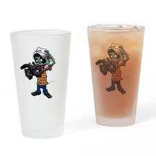 Zombie Camera Man Pitt Drinking Glass