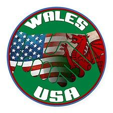Wales USA Friendship Round Car Magnet