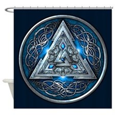 Norse Valknut - Blue Shower Curtain