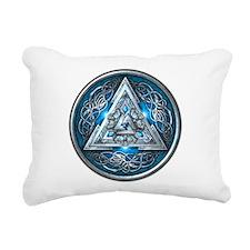 Norse Valknut - Blue Rectangular Canvas Pillow
