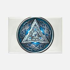Norse Valknut - Blue Rectangle Magnet