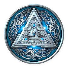 Norse Valknut - Blue Round Car Magnet