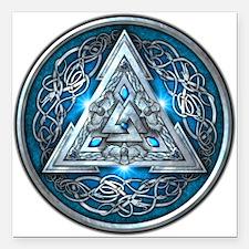 "Norse Valknut - Blue Square Car Magnet 3"" x 3"""