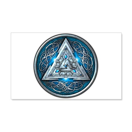 Norse Valknut - Blue 20x12 Wall Decal