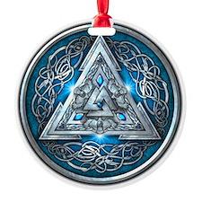 Norse Valknut - Blue Ornament