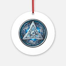 Norse Valknut - Blue Ornament (Round)