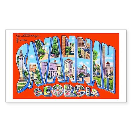 Savannah Georgia Greetings Sticker (Rectangle)