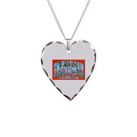 Savannah Georgia Greetings Necklace Heart Charm