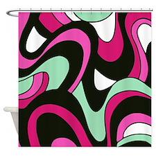 Pink & Green Swirls Shower Curtain