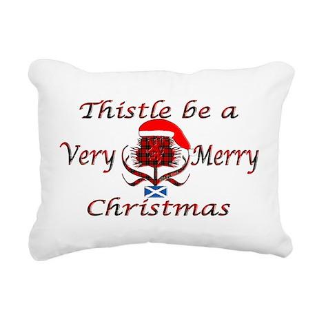 Red tartan thistle christmas Canvas Pillow