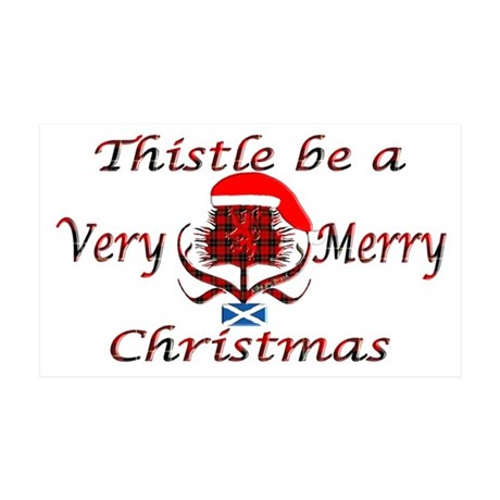 Red tartan thistle christmas 35x21 Wall Decal