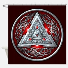 Norse Valknut - Red Shower Curtain