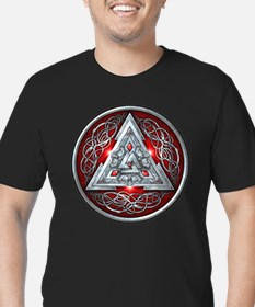 Norse Valknut - Red Men's Fitted T-Shirt (dark)