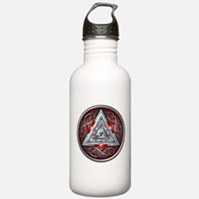 Norse Valknut - Red Water Bottle