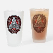 Norse Valknut - Red Drinking Glass