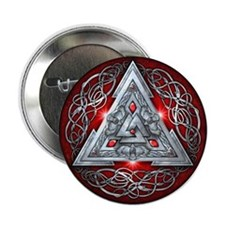 "Norse Valknut - Red 2.25"" Button"