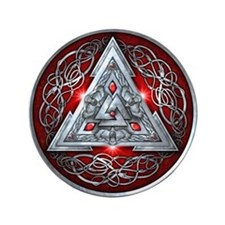 "Norse Valknut - Red 3.5"" Button"