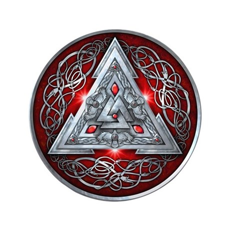 "Norse Valknut - Red 3.5"" Button (100 pack)"