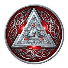 Norse Valknut - Red Round Car Magnet