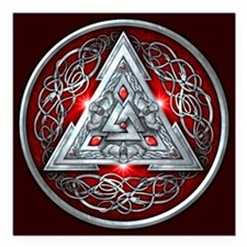 """Norse Valknut - Red Square Car Magnet 3"""" x 3&"""