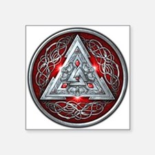 "Norse Valknut - Red Square Sticker 3"" x 3"""