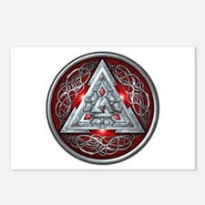 Norse Valknut - Red Postcards (Package of 8)