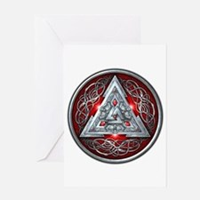 Norse Valknut - Red Greeting Card