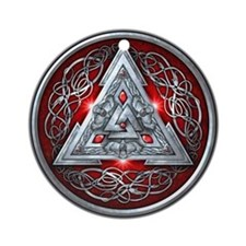 Norse Valknut - Red Ornament (Round)