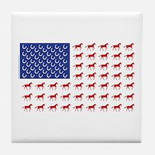 Patriotic Horses USA Tile Coaster