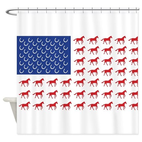 Patriotic Horses USA Shower Curtain