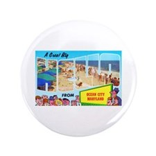 "Ocean City Maryland Greetings 3.5"" Button (100 pac"
