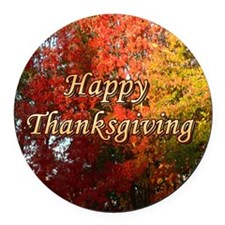 Happy Thanksgiving - Round Car Magnet