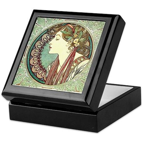 Laurel by Alphonse Mucha Keepsake Box