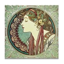 Laurel by Alphonse Mucha Tile Coaster