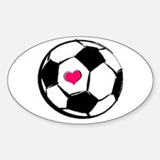 Soccer Heart Rectangle Decal