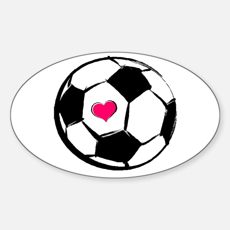 Soccer Heart Rectangle Decal