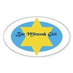 Bat Mitzvah Girl Oval Sticker
