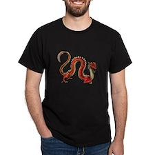 Red Oriental Dragon Black T-Shirt