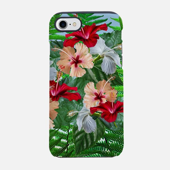Hibiscus Flowers on Ferns iPhone 7 Tough Case